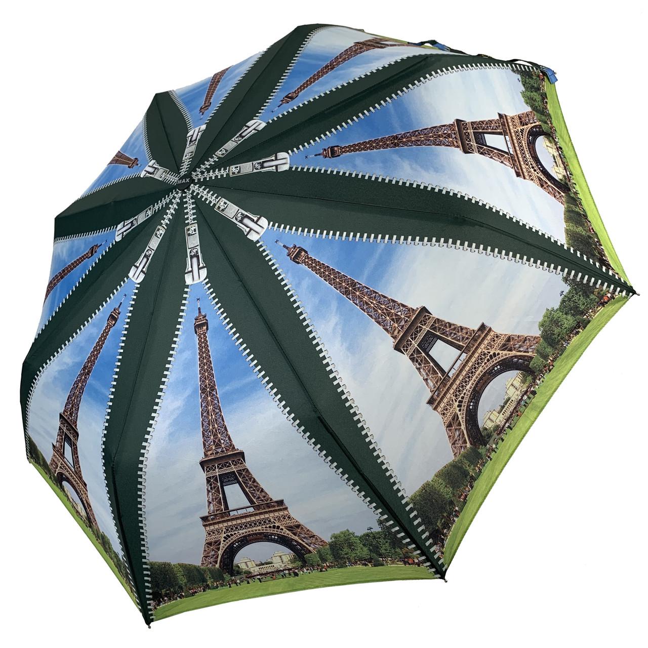 Женский складной зонт-полуавтомат с облегченным каркасом и Эйфелевой башней от Max, зеленая ручка, 314-4