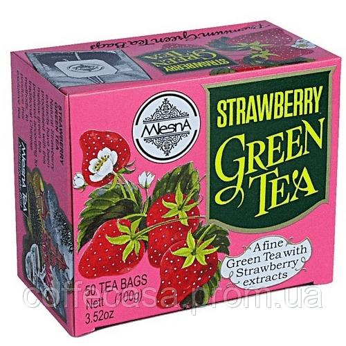 Зеленый чай Клубника в пакетиках Млесна картон 200 г