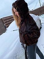Норковый полушубок с капюшоном XL размер коричневого цвета автоледи