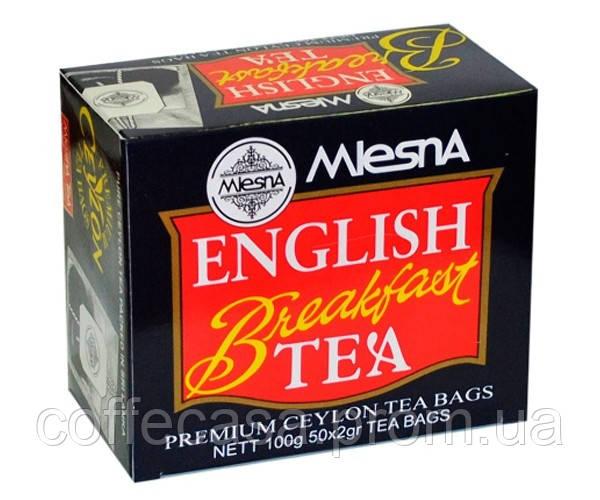 Черный чай Английский завтрак в пакетиках Млесна картон 400 г