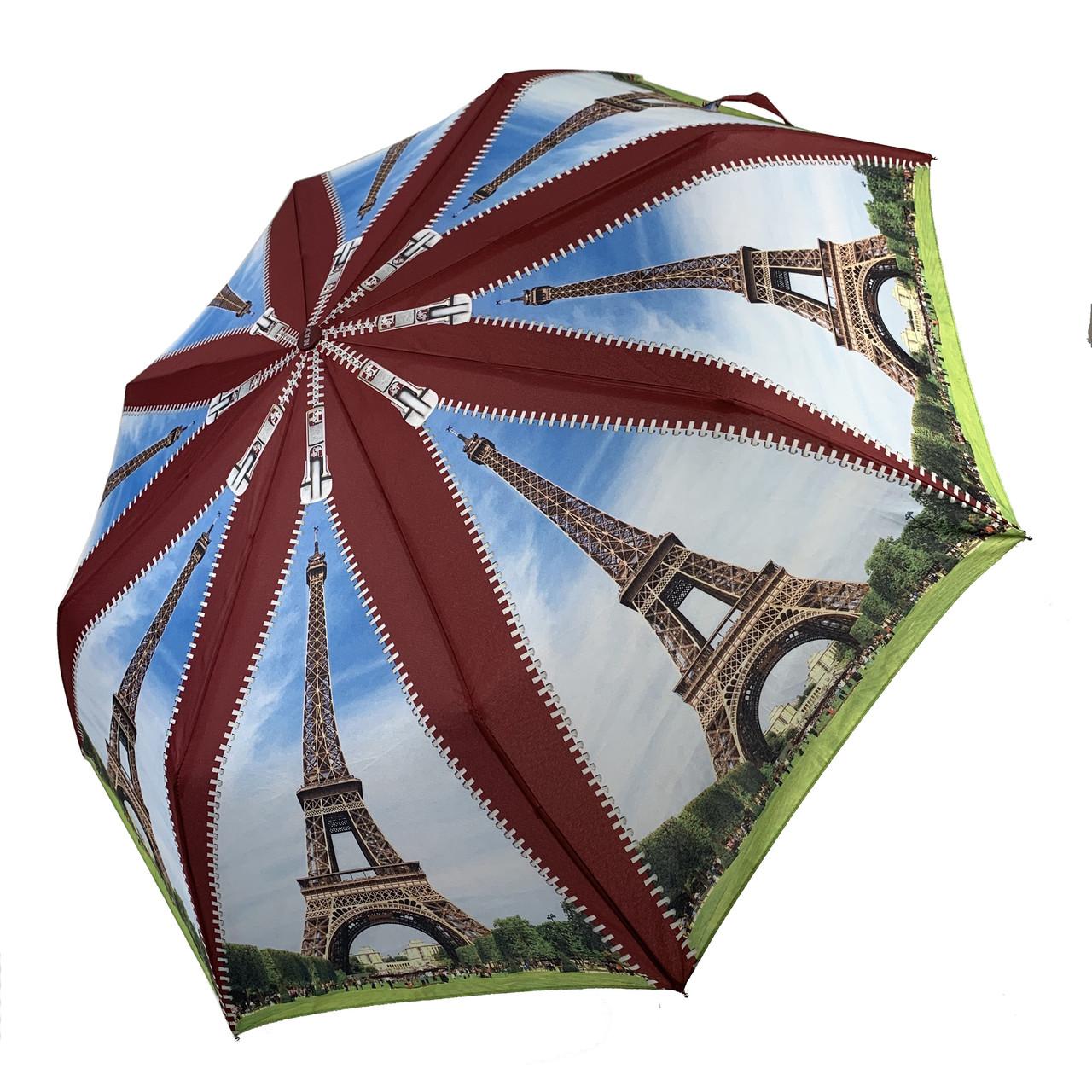 Женский складной зонт-полуавтомат с облегченным каркасом и Эйфелевой башней от Max, бордовая ручка, 314-5
