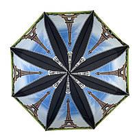 Женский складной зонт-полуавтомат с облегченным каркасом и Эйфелевой башней от Max, черная ручка, 314-6, фото 1