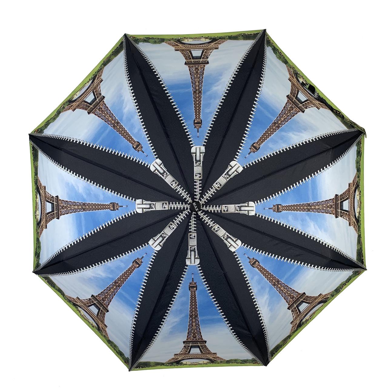 Женский складной зонт-полуавтомат с облегченным каркасом и Эйфелевой башней от Max, черная ручка, 314-6
