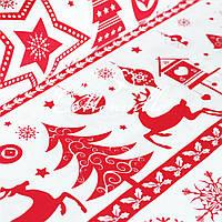 Бязь Різдвяні мотиви червона