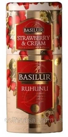 Черный чай Basilur Рухуну и Клубника с кремом ж/б 125 г