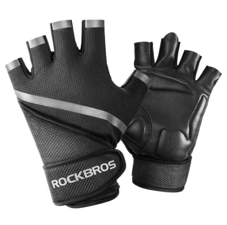 Рукавички для тренажерного залу велосипеда з напульсниками Rockbros S172 безпалые чорні