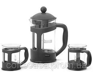 Набор Bialetti френч-пресс 1 л + 2 чашки 200 мл Black (0004651)
