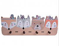 Детская настенная деревянная вешалка Лесные друзья, Креативные настенные вешалки