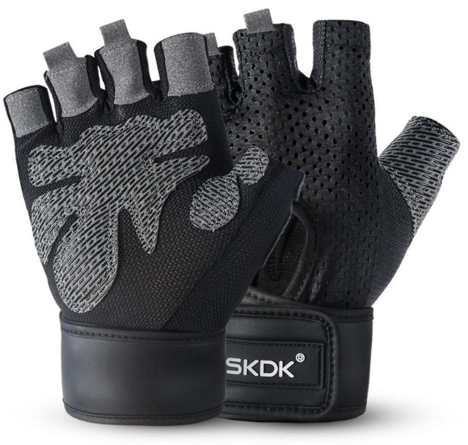 Перчатки для тренажерного зала велосипеда с напульсниками SKDK безпалые черные