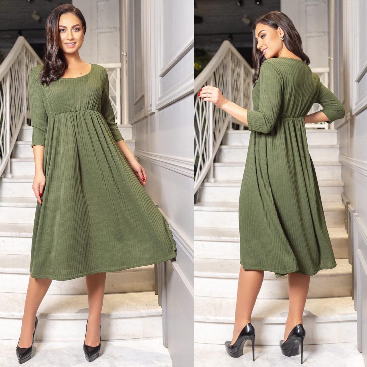 Женское повседневное платье ангора трикотаж рубчик длинный рукав размеры 50-52,54-56,58-60,62-64