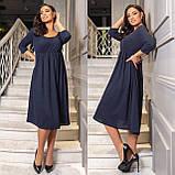 Женское повседневное платье ангора трикотаж рубчик длинный рукав размеры 50-52,54-56,58-60,62-64, фото 3