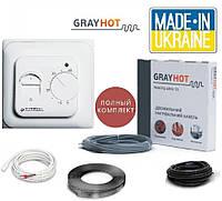 Теплый пол GRAYHOT 0,7м²-1,1м² 129Вт (9 м) нагревательный кабель с терморегулятором Castle