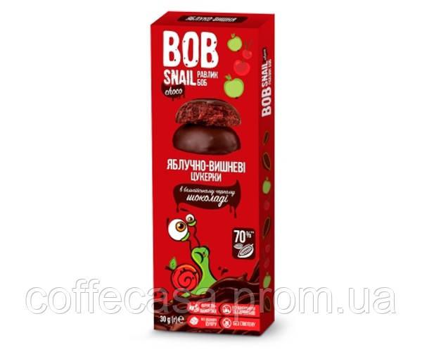 Конфеты Bob Snail Яблоко-Вишня в черном шоколаде 30 г