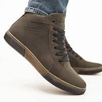 Зимние мужские ботинки из натуральной кожи, коричневые