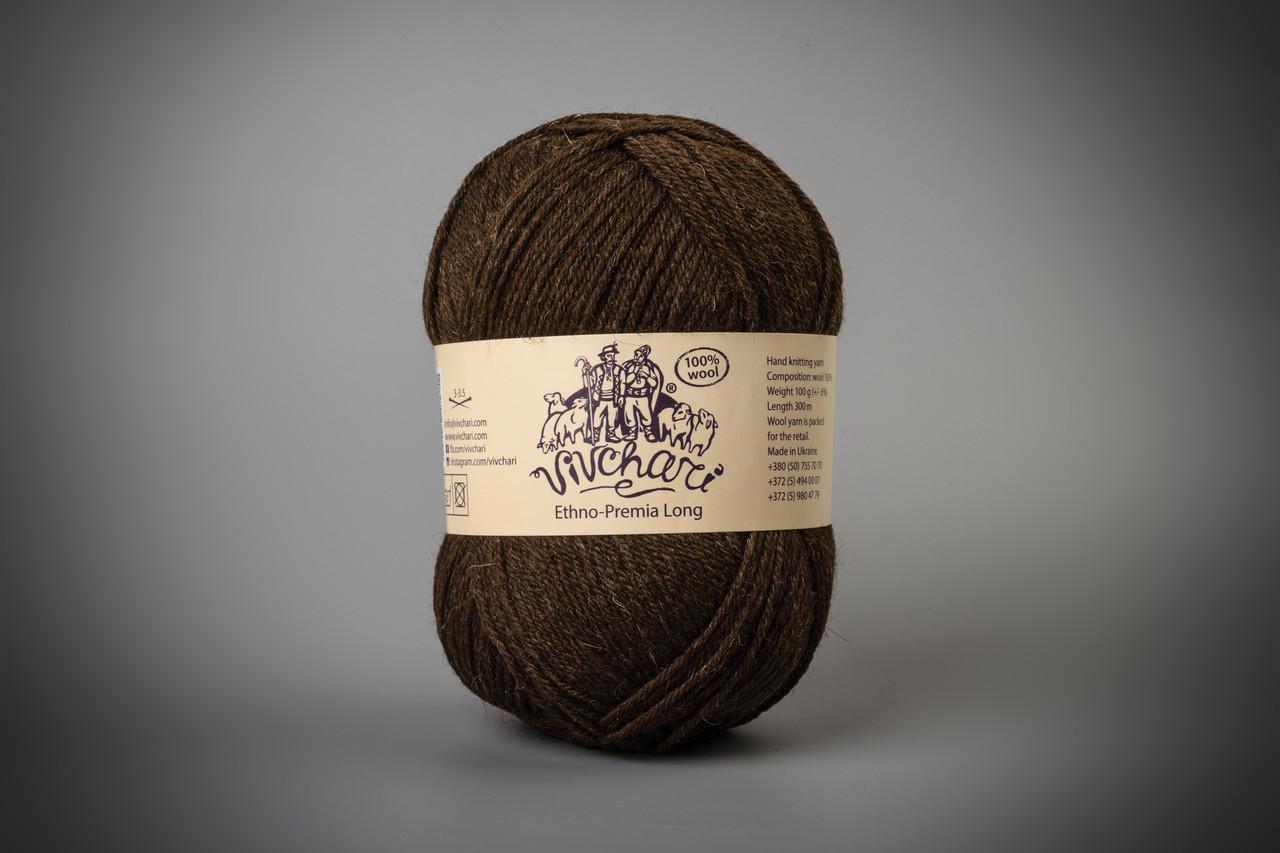 Пряжа шерстяная Vivchari Ethno-Premia  Long, Color No.05 темно- коричневый