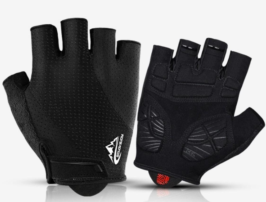 Перчатки для тренажерного зала велосипеда  безпалые с гелевыми вставками Golovejoy XG30 черные