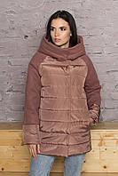 Женская демисезонная куртка с капюшоном, 4 цвета Коричневый, 46