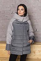 Женская демисезонная куртка с капюшоном, 4 цвета Серый, 46