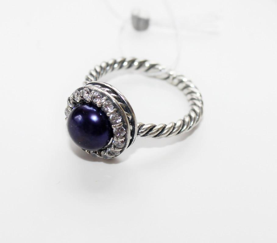 Серебряное колечко с чёрным жемчугом и белыми цирконами Энн