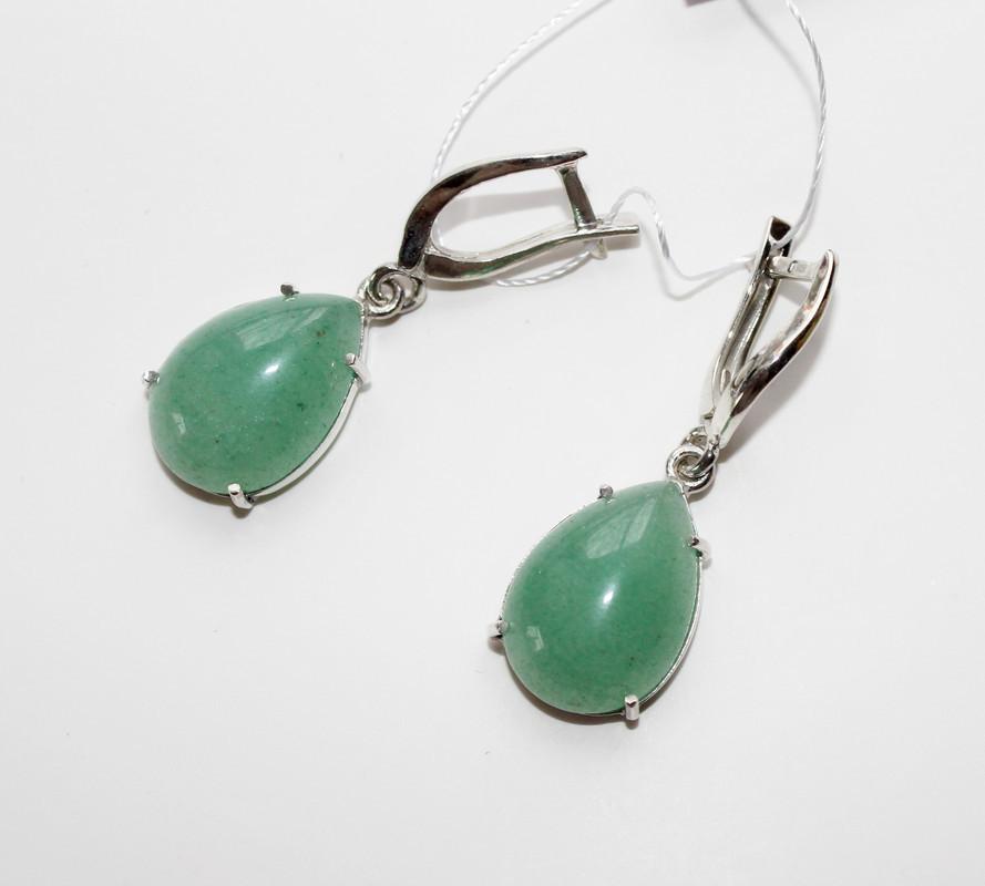 Серебряные серьги с подвесом и камнем зелёного авантюрина Андреа