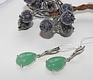 Серебряные серьги с подвесом и камнем зелёного авантюрина Андреа, фото 5