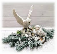 Новогодняя настольная композиция на спиле дерева с совами Подарок на день св. Николая Новый год Рождество