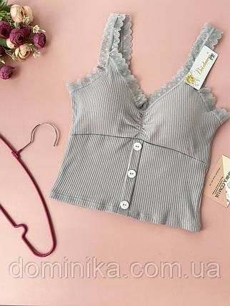 Серый топ майка футболка с кружевом, бюст со съёмным поролоном, кружевные бретели, фото 2