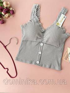 Серый топ майка футболка с кружевом, бюст со съёмным поролоном, кружевные бретели