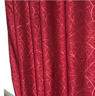 Штора лен с декором Blackout бордовый