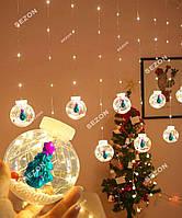 Новогодняя Гирлянда Кульки-роса ЯЛИНКА 10шт, 3м*0,8м/ перехідник, білий теплий
