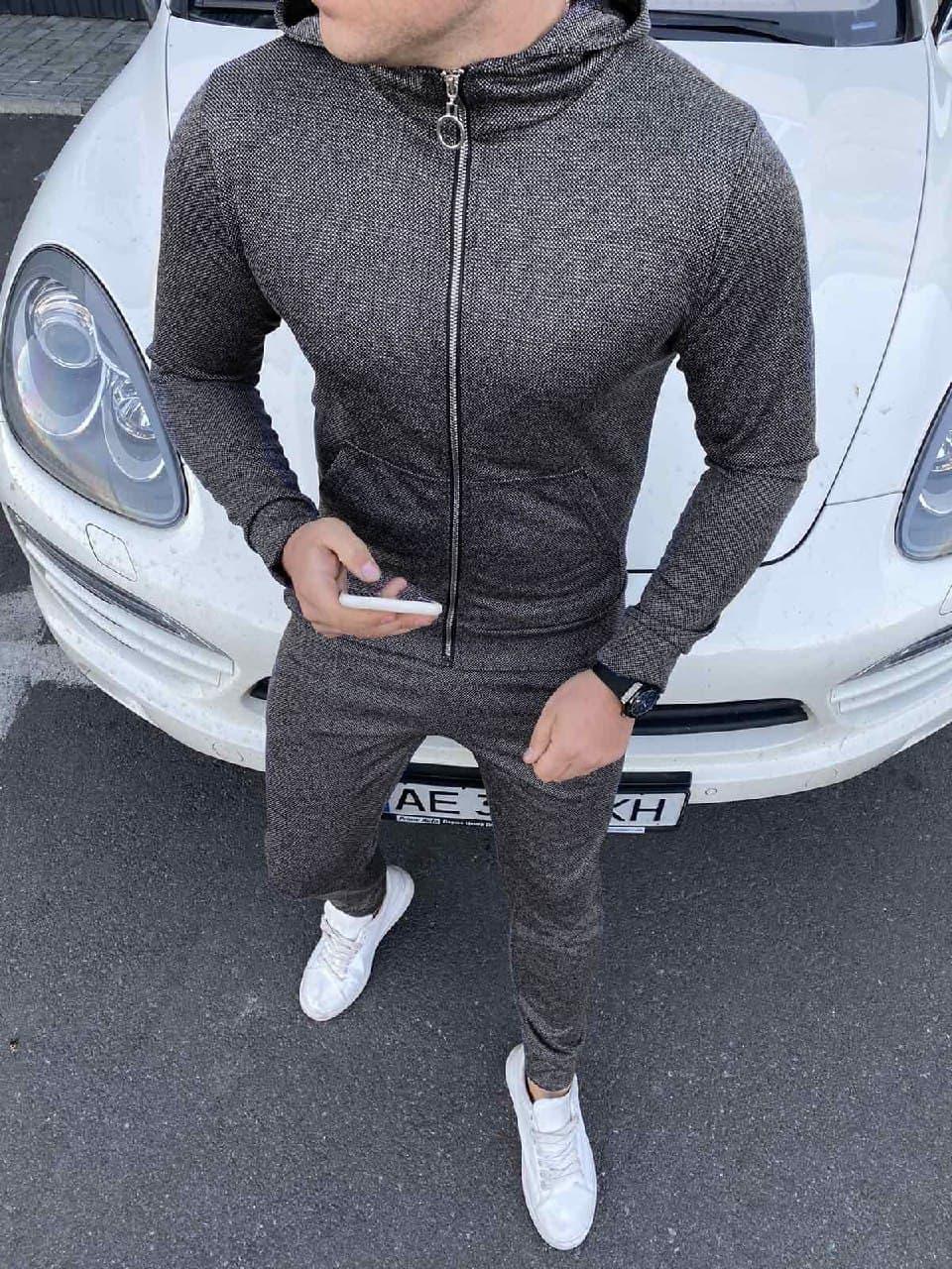 Мужской серый однотонный спортивный костюм с капюшоном