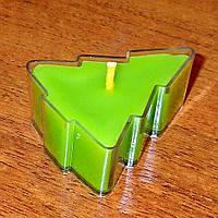 Восковая чайная свеча Зелёная Ёлочка в пластиковом прозрачном контейнере; натуральный пчелиный воск