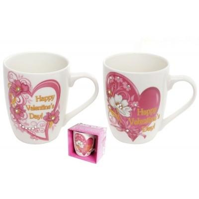 """Чашка 350мл """"Валентинка"""" зі стразами в подарунковій упаковці BonaDI 380-422"""