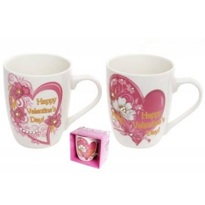"""Чашка 350мл """"Валентинка"""" зі стразами в подарунковій упаковці BonaDI 380-422, фото 2"""