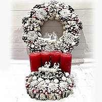 Новогодний набор с оленями Рождественский венок и подсвечник Ручная работа