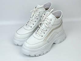 SHAWTY Wawe женские зимние ботинки белые на платформе с мехом кожаная обувь