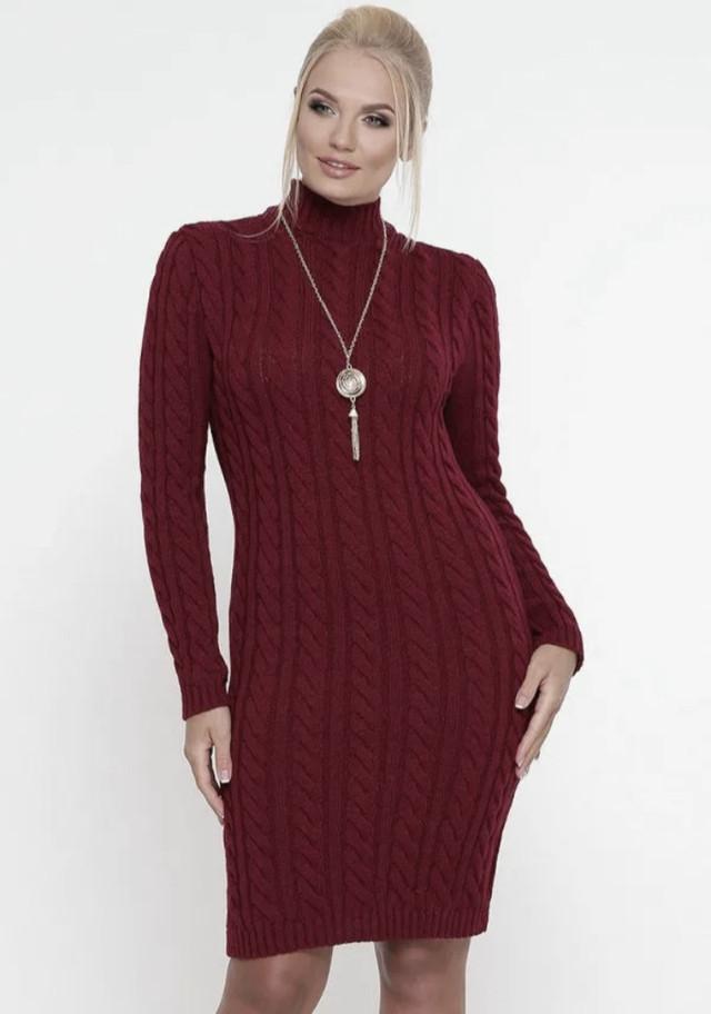 Бордовое вязаное платье зимнее