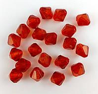 Пластиковая бусина, граненый биконус, красная 10х9 мм  20 г