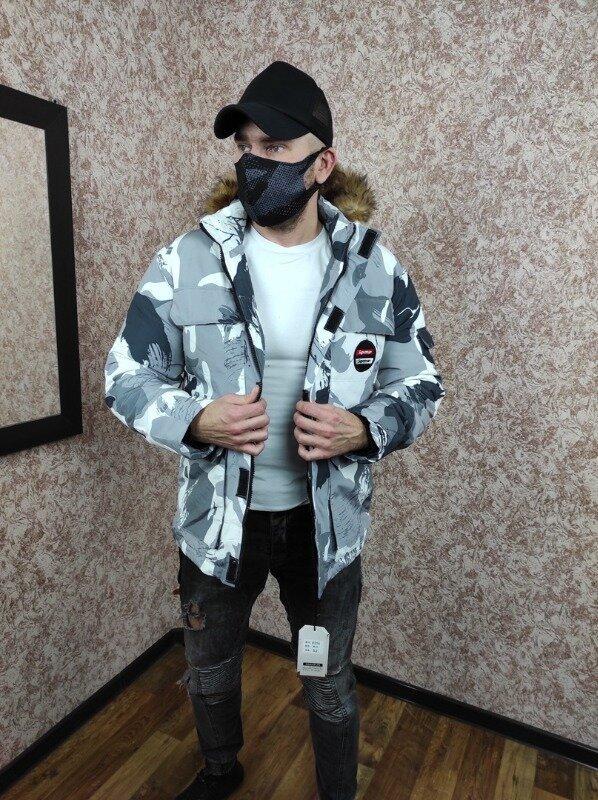 Мужской зимний пуховик серый