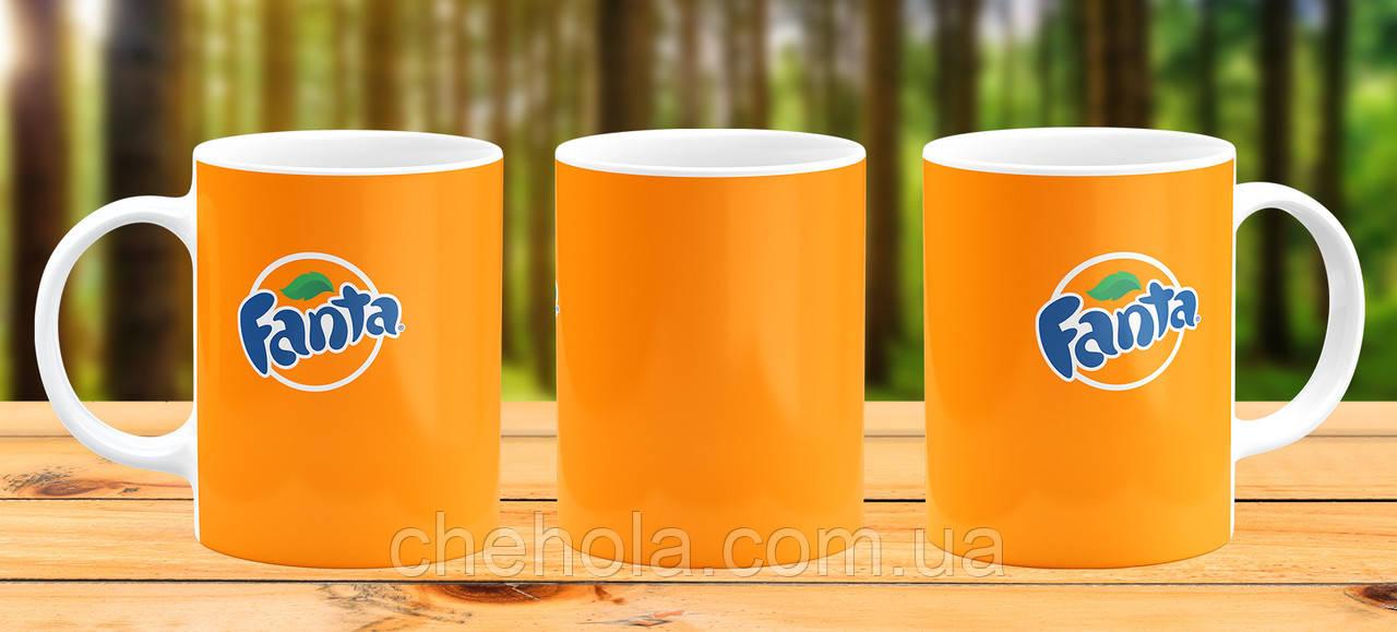 Оригинальная кружка с принтом Fanta оранжевая Прикольная чашка подарок Сестре другу