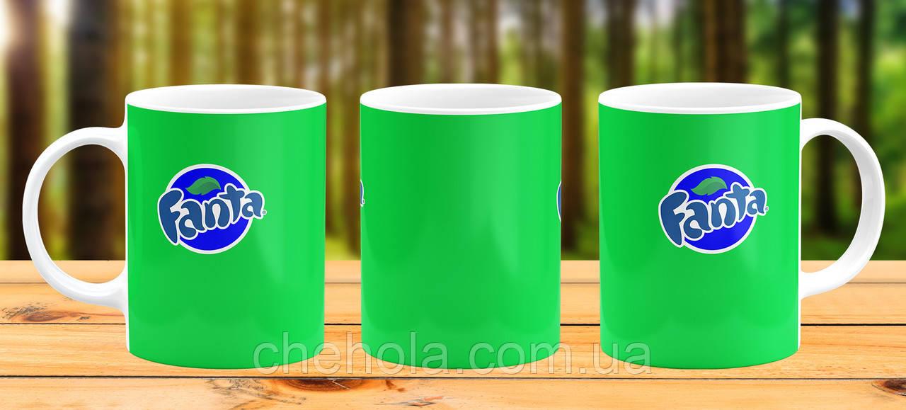 Оригінальна гуртка з принтом Fanta зелена Прикольна чашка подарунок Другові