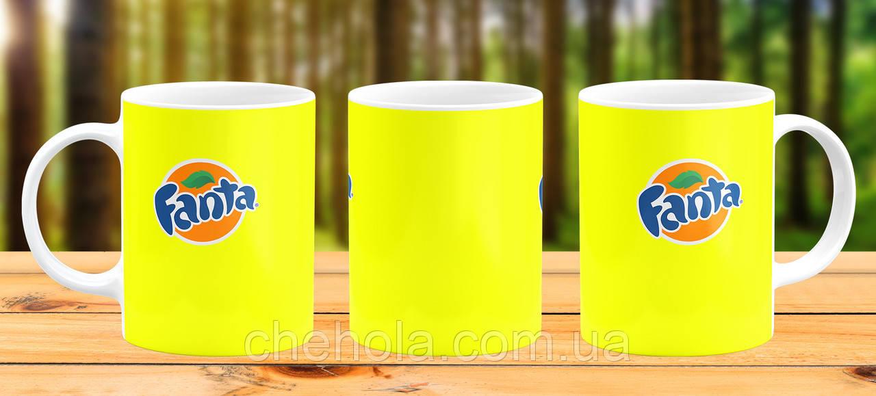 Оригинальная кружка с принтом Fanta желтая Прикольная чашка подарок