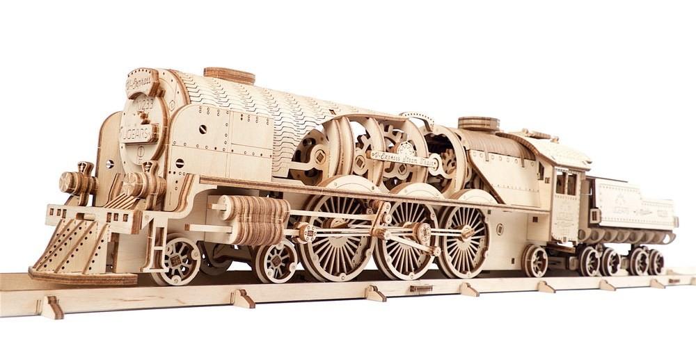 Механический 3D пазл «Локомотив c тендером V-Экспресс» деревянный конструктор UGears