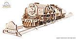 Механический 3D пазл «Локомотив c тендером V-Экспресс» деревянный конструктор UGears, фото 5