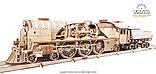 Механический 3D пазл «Локомотив c тендером V-Экспресс» деревянный конструктор UGears, фото 9