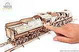 Механический 3D пазл «Локомотив c тендером V-Экспресс» деревянный конструктор UGears, фото 8