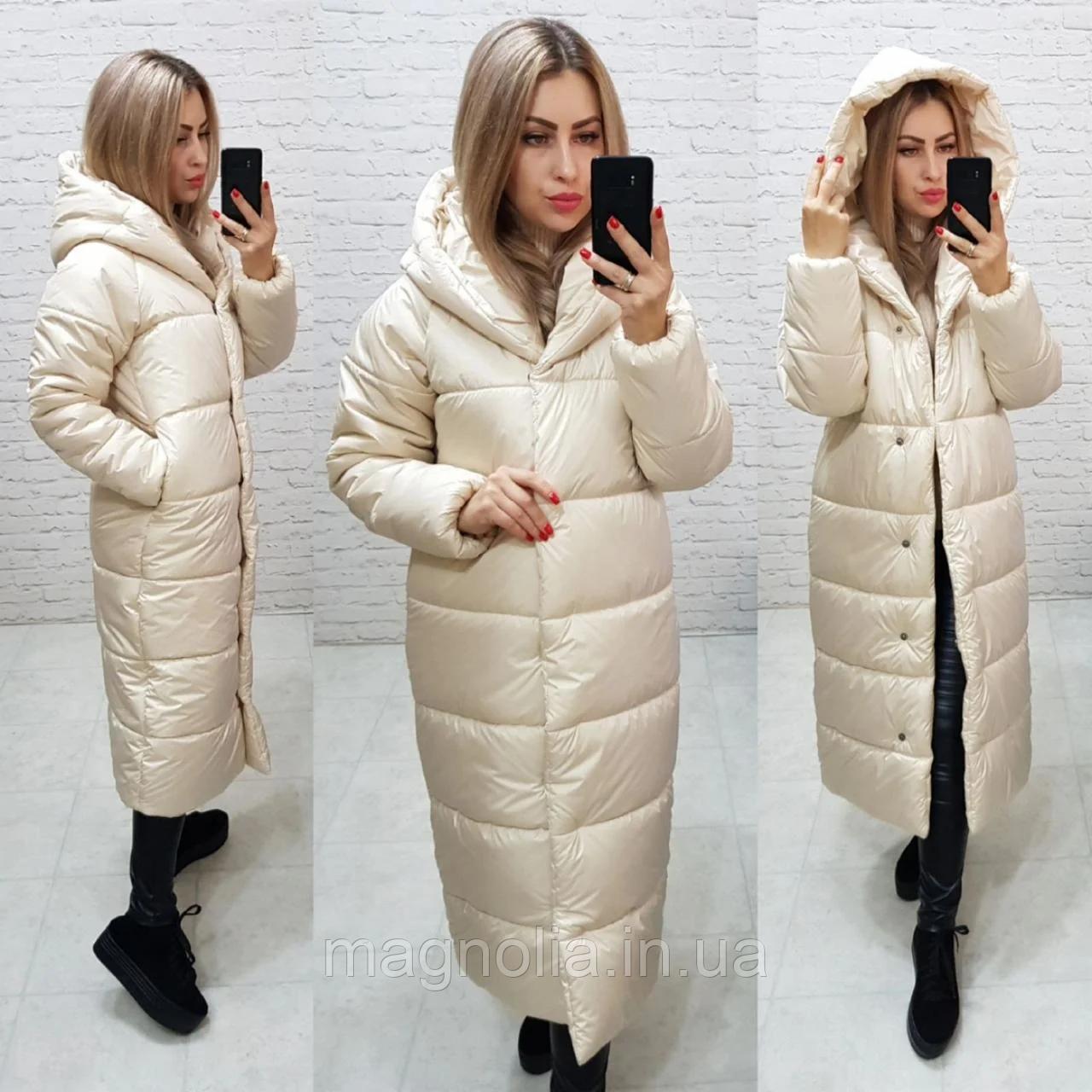 Зимняя теплая длинная  куртка пальто пуховик оверсайз одеяло с капюшоном плащевка + силикон 58-60