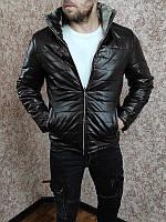 Зимняя кожаная куртка на меху коричневая утеплена синтепеном, фото 1