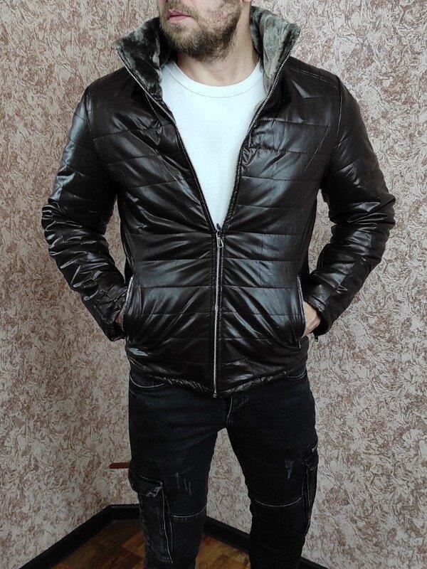 Зимняя кожаная куртка на меху коричневая утеплена синтепеном