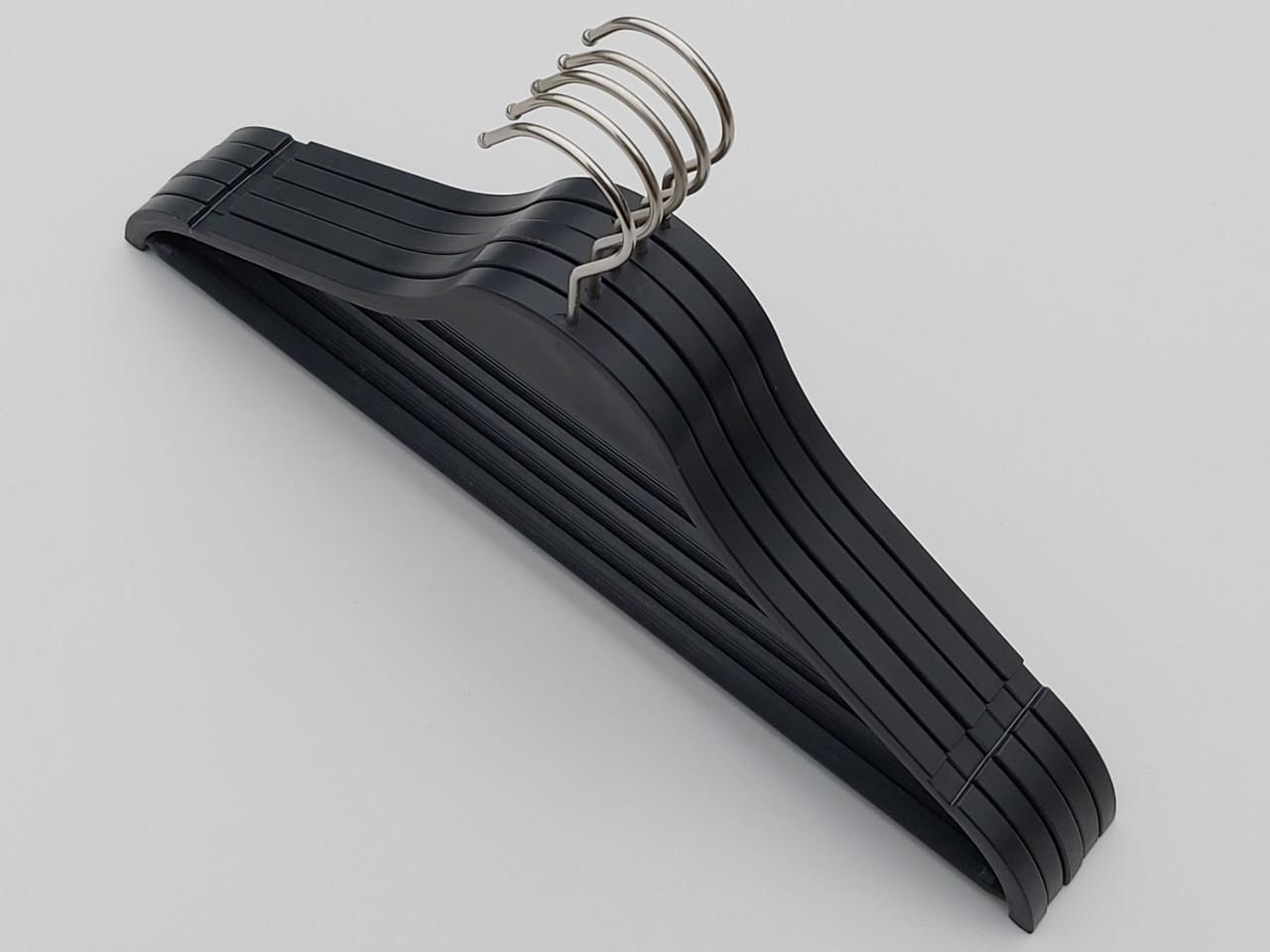 Плечики длиной 41 см пластмассовые ZP41 черного цвета, 5 штук в упаковке